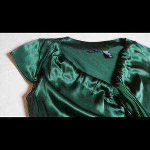 New York & Company Dark Green Silk Blouse Small